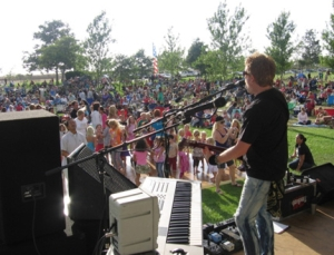 a picture of a concert at a park in Costa Mesa