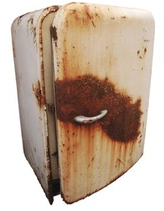a picture of an old rusted refrigerator